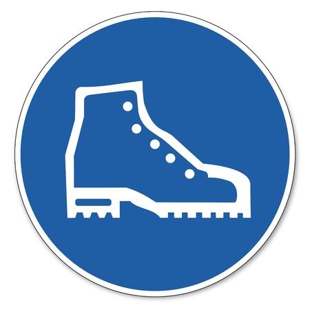 zapatos de seguridad: Al mando de seguridad signo signo signo pictograma seguridad en el trabajo Utilice zapatos de seguridad