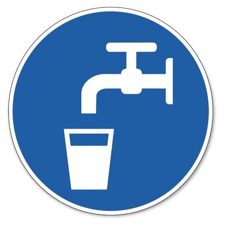ocupacional: Al mando de seguridad signo se�al pictograma signo de la seguridad del agua potable vidrio