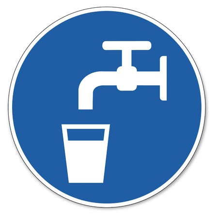 commanded: Commanded sign safety sign pictogram occupational safety sign drinking water glas