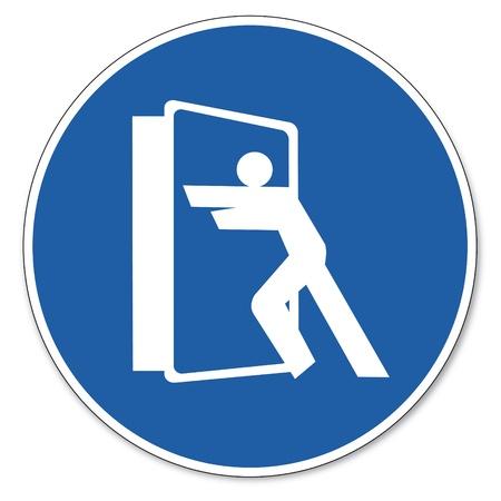 prevencion de accidentes: Al mando de seguridad signo signo signo pictograma seguridad en el trabajo siempre cerca de las puertas Vectores