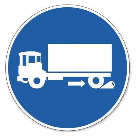 ocupacional: Al mando de seguridad signo se�al pictograma seguridad en el trabajo muestra el uso de camiones hasta los topes Vectores