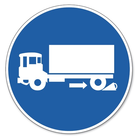 commanded: Commanded sign safety sign pictogram occupational safety sign chock use truck