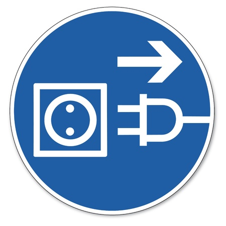 mains: Commanded sign safety sign pictogram occupational safety sign Before opening plug Illustration