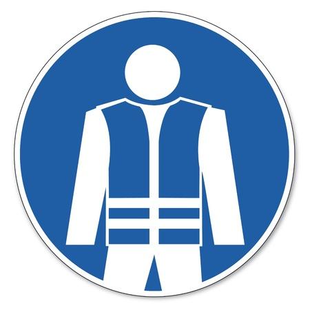ocupacional: Al mando de seguridad signo se�al pictograma seguridad en el trabajo se�al de advertencia de seguridad chaleco Vectores