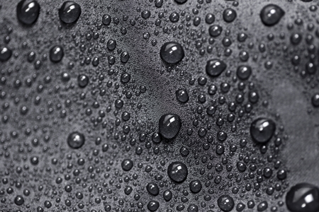 lotus effect: Lotus effect with water drops on black textile
