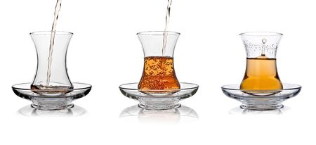 sufficient: Turkish tea glass splash in sufficient amount set collage on white background