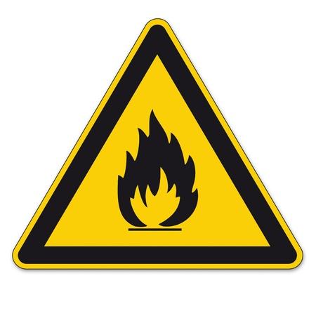 señal transito: Las señales de seguridad advierten BGV A8 signo triángulo vector pictograma icono fuego llama inflamable Vectores