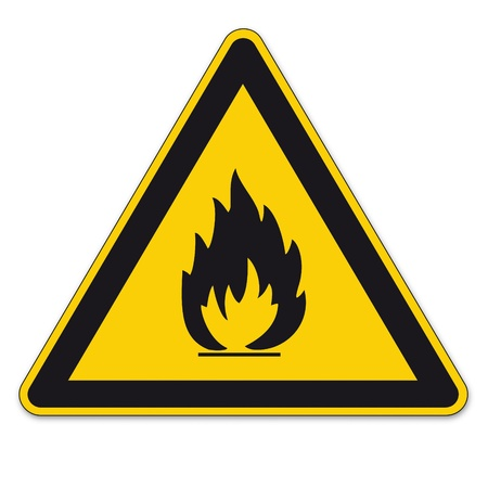 Safety signs warning BGV A8 triangle sign vector pictogram icon flame fire flammable Ilustração