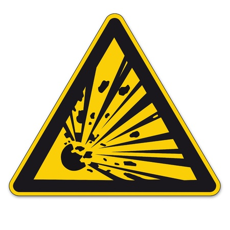 note of exclamation: Safety sign triangle warning triangle sign vector pictogram BGV A8 Icon potentially explosive