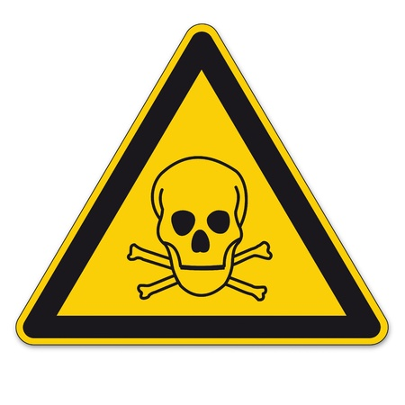 triangular warning sign: Safety sign triangle warning triangle sign BGV A8 vector pictogram icon skull toxic pirate