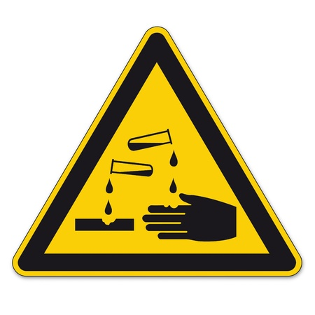 triangular warning sign: Safety signs warning sign BGV A8 vector pictogram icon triangular test tube handle corrosive