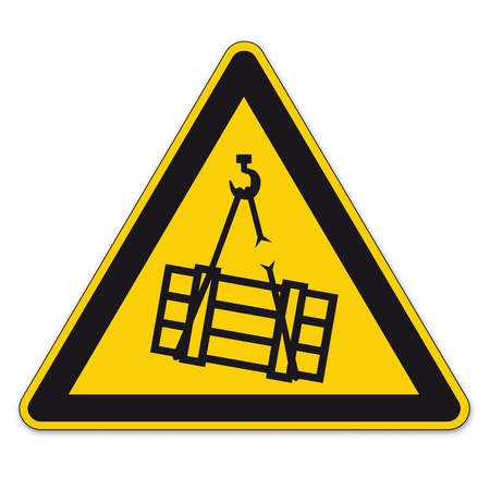 triangular warning sign: Safety signs warning triangle sign BGV A8 vector pictogram icon floating crane load