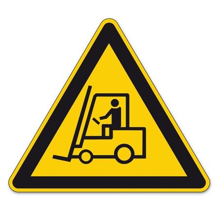 divieto: Segnaletica di sicurezza segno di avvertimento triangolo vettore pittogramma carrelli elevatori BGV A8 Icona Handling