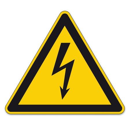 descarga electrica: Seguridad signos de advertencia signo BGV vector pictograma icono de rayo relámpago símbolo actual de electricidad