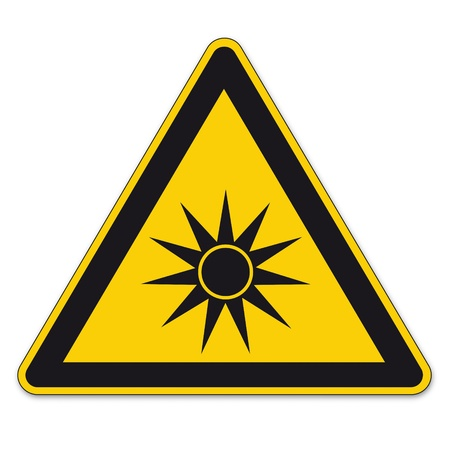eye protection: Safety signs warning triangle sign vector pictogram BGV A8 Icon optical radiation Illustration