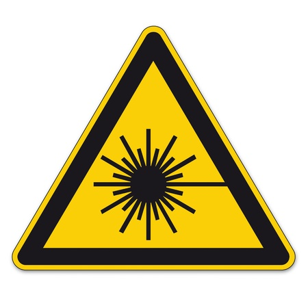 bgv: Safety signs warning triangle sign vector pictogram BGV A8 Icon laser beam laser weapon