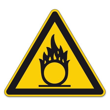 oxidising: Las se�ales de seguridad se�al de advertencia tri�ngulo BGV A8 vector pictograma icono llama oxidante