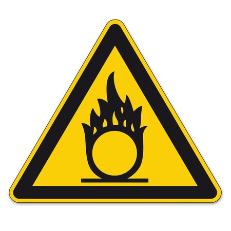 oxidising: Safety signs warning triangle sign BGV A8 vector pictogram icon flame oxidizing Illustration
