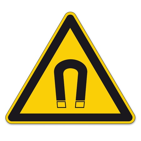 magnetic field: Safety signs warning triangle sign vector pictogram ico BGV A8 magnet magnetic field