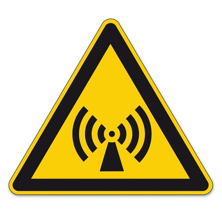 note of exclamation: Safety signs warning triangle sign vector pictogram BGV A8 Icon field electromagnetically