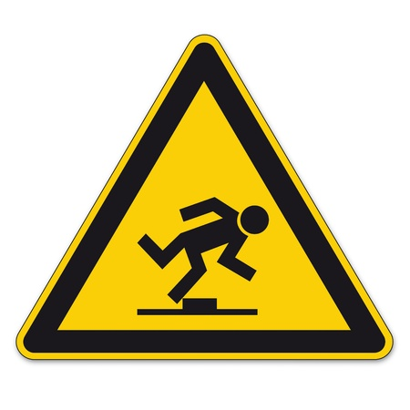 stumble: Safety signs warning triangle sign vector pictogram BGV A8 Icon tripping hazard level Illustration