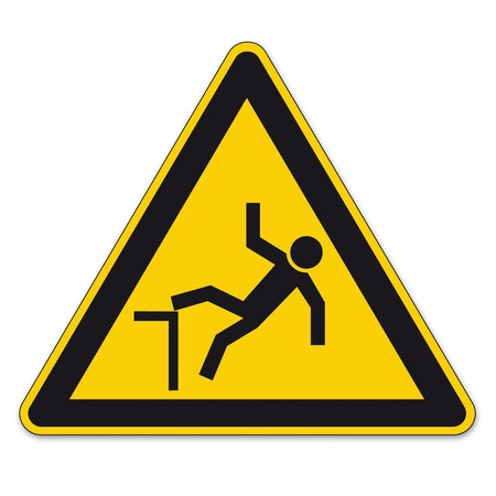safety signs: Safety signs warning triangle sign vector pictogram BGV A8 Icon cliff fall hazard Illustration