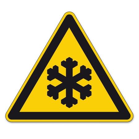 se�ales de seguridad: Las se�ales de seguridad tri�ngulo de advertencia signo BGV vector pictograma icono negro hielo fr�o helada del invierno