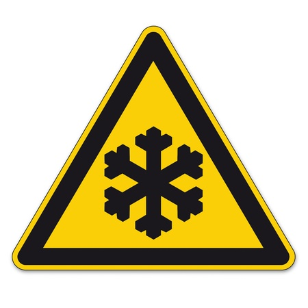 triangular warning sign: Safety signs warning triangle sign BGV vector pictogram icon black ice cold winter frost