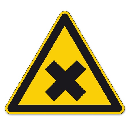 harmful: Safety signs warning sign BGV vector pictogram icon triangular cross harmful