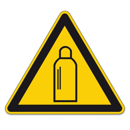 bgv: Safety signs warning sign vector pictogram BGV A8 Icon gas cylinder gas fire triangle