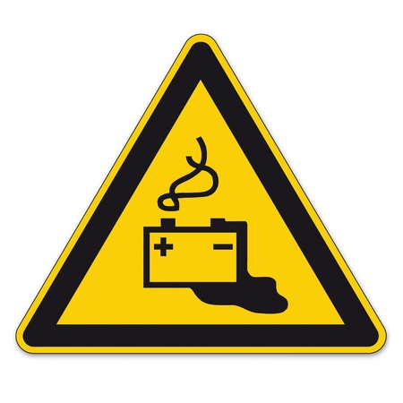 triangular warning sign: Safety signs warning triangle sign vector pictogram BGV Icon Battery Battery Acid Battery