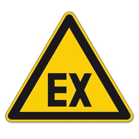 explosives: Safety signs warning triangle sign BGV vector pictogram icon explosive atmosphere
