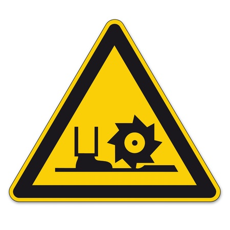bgv: Safety signs warning sign BGV A8 vector pictogram icon milling shaft triangular boater saw