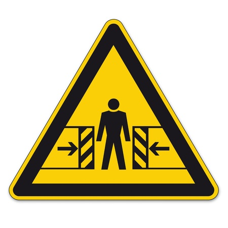 crush: Safety signs warning triangle sign BGV vector pictogram icon crushing bruise Illustration