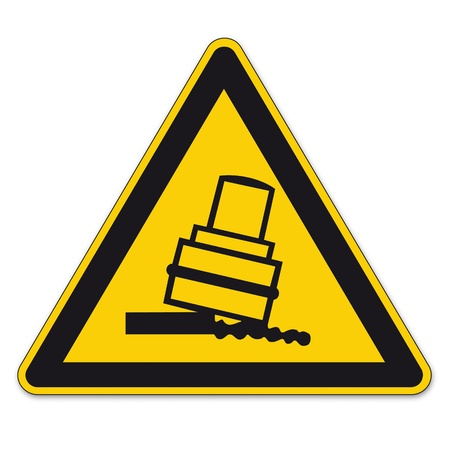 a8: Safety signs warning triangle sign vector pictogram BGV A8 Icon overturning rolls Illustration