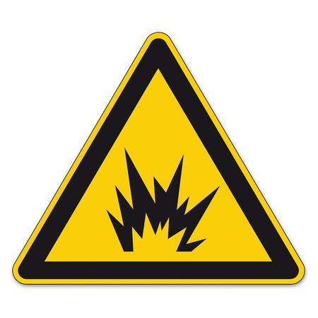 danger: Segnaletica di sicurezza triangolo di segno vettore pittogramma BGV A8 Icon bomba esplosione tnt