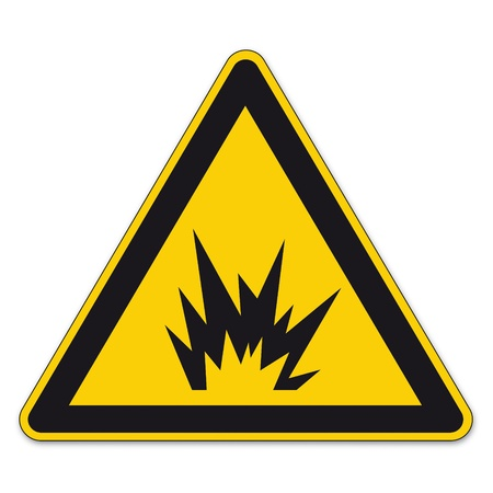 Safety signs warning triangle sign vector pictogram BGV A8 Icon bomb explosion tnt Illustration