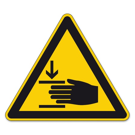 squeezing: Safety signs warning triangle hand sign vector pictogram icon BGV A8 hand injuries Illustration
