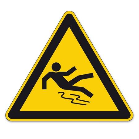 seguridad e higiene: Las señales de seguridad triángulo de advertencia signo vector pictograma icono BGV limpia y lisa resbaladizo Vectores