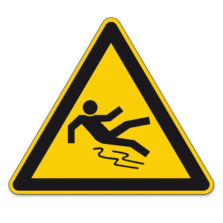 slips: Safety signs warning triangle sign vector pictogram icon BGV clean smooth slippery