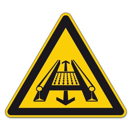 fliesband: Sicherheitszeichen Warnzeichen BGV A8 vector Piktogramm Symbol F�rderband dreieckigen gleis