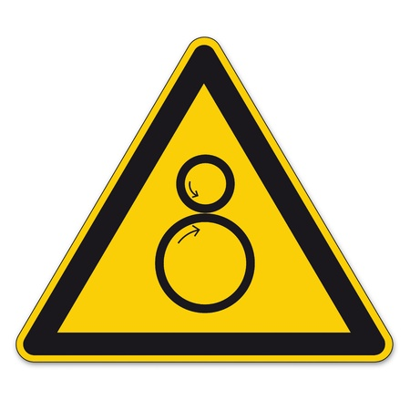squeeze: Safety signs warning triangle roll BGV A8 sign vector pictogram icon collection risk Illustration