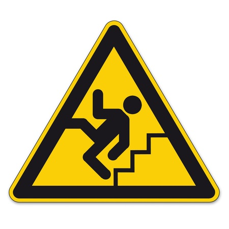 health and safety: Safety signs warning triangle sign vector pictogram BGV A8 Icon stairs step railings Illustration