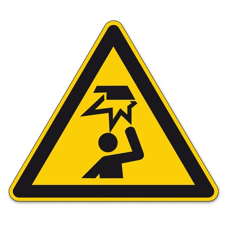 encounter: Safety signs warning triangle sign BGV vector pictogram icon crush your head edge Illustration