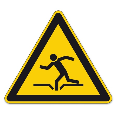 triangular warning sign: Safety signs warning triangle sign BGV vector pictogram icon burglary danger dive hole