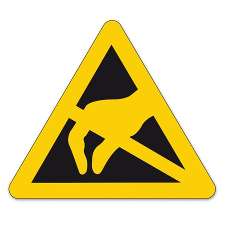 Safety signs warning triangle sign BGV vector pictogram icon Electrostatic sensitive devices Illustration