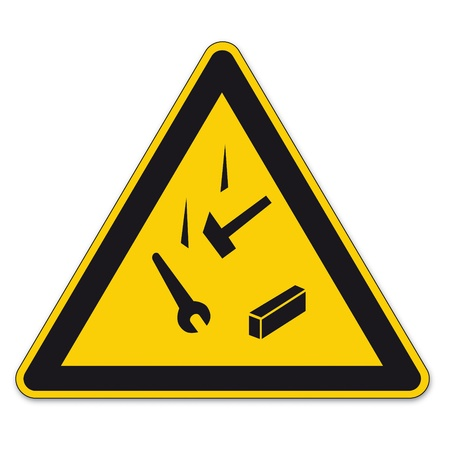 Safety signs warning triangle sign vector pictogram icon BGV falling down against admissions Vector