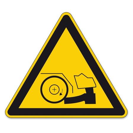 calzado de seguridad: Las se�ales de seguridad se�al de advertencia tri�ngulo vector pictograma BGV A8 Icono zapatos lesi�n en el pie Vectores