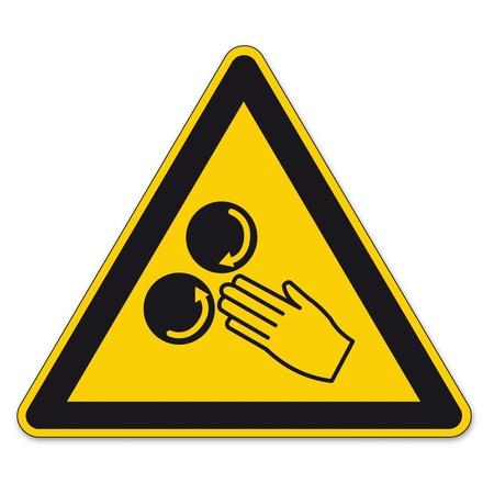 se�ales de seguridad: Seguridad se�ales de advertencia tri�ngulo se�al BGV dedo mano vector icono pictograma constantemente rodando