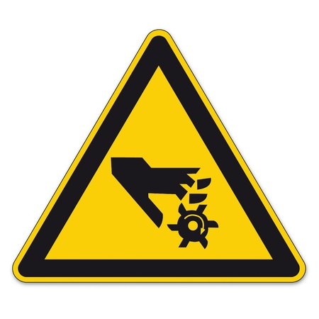 triangular warning sign: Safety signs warning triangle sign BGV vector pictogram icon rotating tool gear